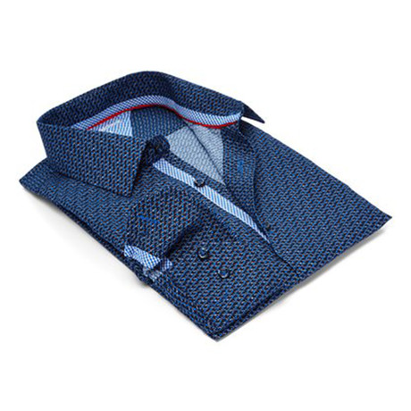 True Modern-Fit Men's Dress Shirt // Navy + Royal (S)