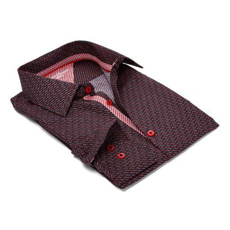 True Modern-Fit Men's Dress Shirt // Black + Red (S)