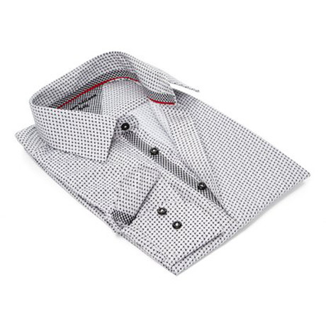 True Modern-Fit Men's Dress Shirt // White + Black (S)