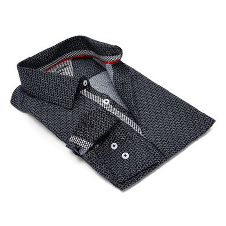 True Modern-Fit Men's Dress Shirt // Black + Grey (S)