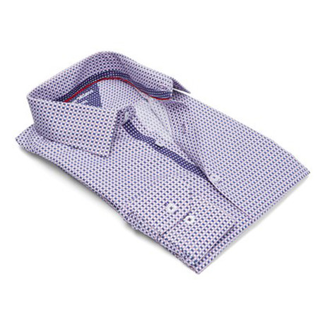 Modern-Fit Men's Dress Shirt // Purple Squares (S)