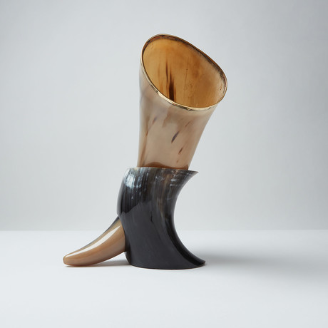 Polished Viking Drinking Horn + Stand // XL