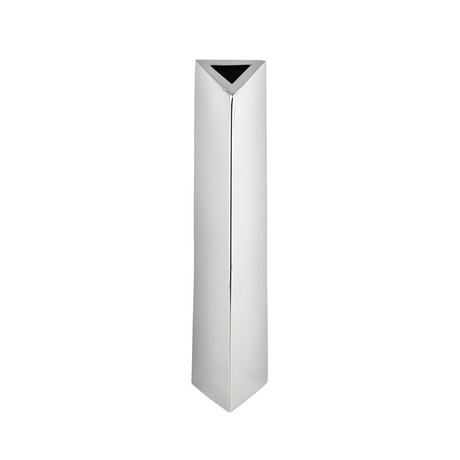 Angled Triangular Vase // Stainless Steel // Large