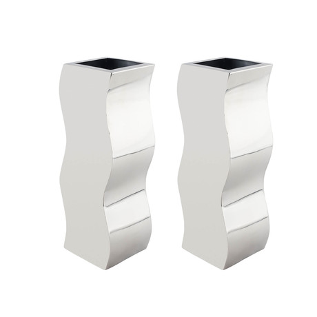Circular Zig-Zag Vase // Stainless Steel // Set of Two