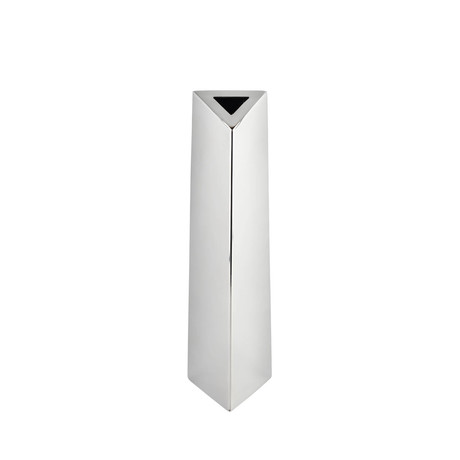 Angled Triangular Vase // Stainless Steel // Small