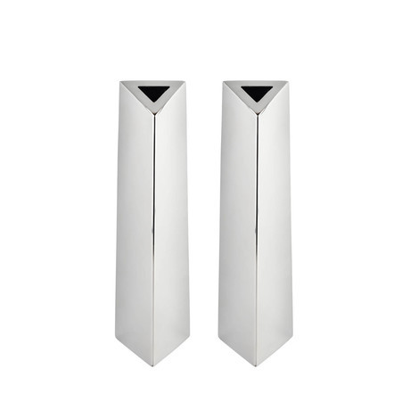 Angled Triangular Vase // Stainless Steel // Set of Two