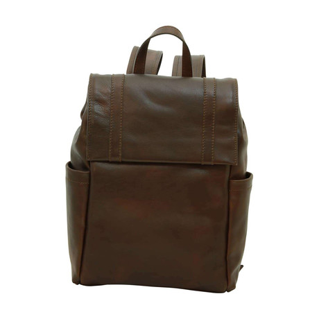 Florentine Collection // Soft Calfskin Leather Laptop Backpack (Dark Brown)