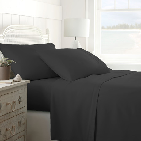 Hotel Collection // Premium Ultra Soft 4 Piece Bed Sheet Set // Black (Twin)