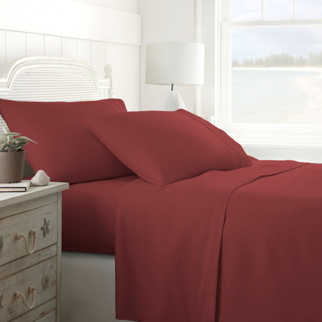Hotel Collection // Premium Ultra Soft 4 Piece Bed Sheet Set // Burgundy (Twin)