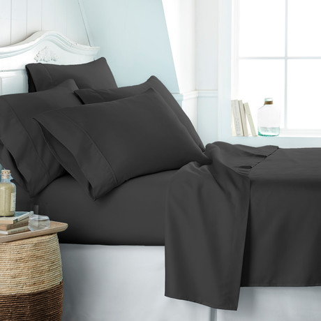 Hotel Collection // Premium Ultra Soft 6 Piece Bed Sheet Set // Black (Twin)