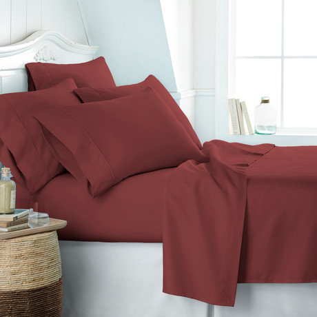 Hotel Collection // Premium Ultra Soft 6 Piece Bed Sheet Set // Burgundy (Twin)