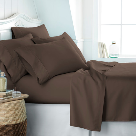 Hotel Collection // Premium Ultra Soft 6 Piece Bed Sheet Set // Chocolate (Twin)