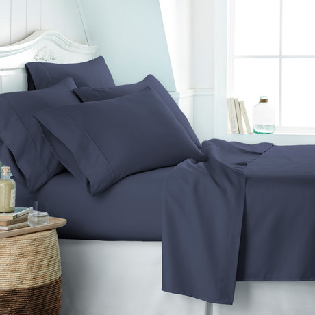 Hotel Collection // Premium Ultra Soft 6 Piece Bed Sheet Set // Navy (Twin)