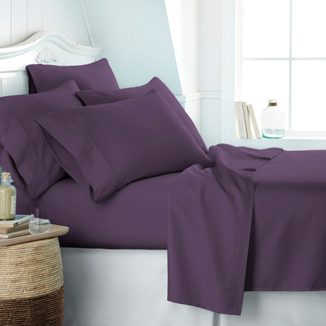 Hotel Collection // Premium Ultra Soft 6 Piece Bed Sheet Set // Purple (Twin)