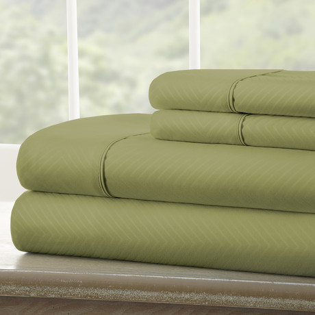 Hotel Collection // Luxury Soft Chevron 4 Piece Bed Sheet Set // Sage (Twin)