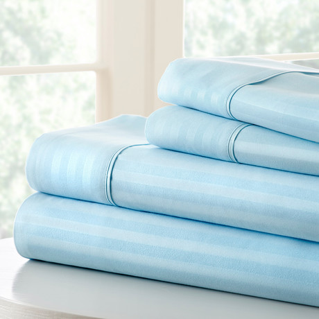 Hotel Collection // Luxury Soft Striped 4 Piece Bed Sheet Set // Aqua (Full)