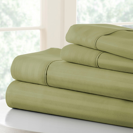 Hotel Collection // Luxury Soft Striped 4 Piece Bed Sheet Set // Sage (Full)