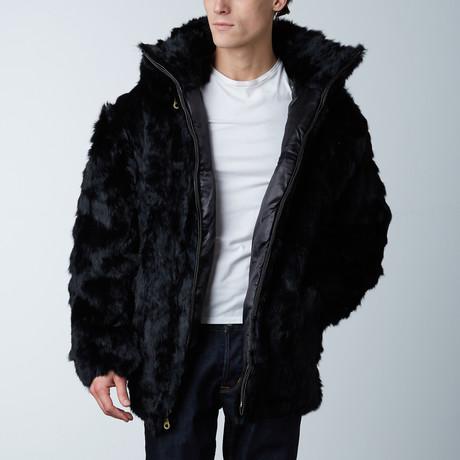 Oversized Rabbit Fur Bomber W/ Hood (S)