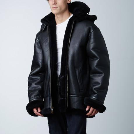 B3 Sherpa-Lined Bomber W/ Detachable Hood // Black (S)