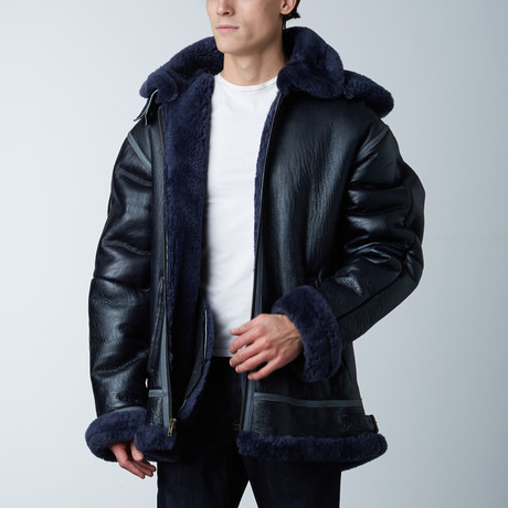 B3 Sherpa-Lined Bomber W/ Detachable Hood // Navy (S)