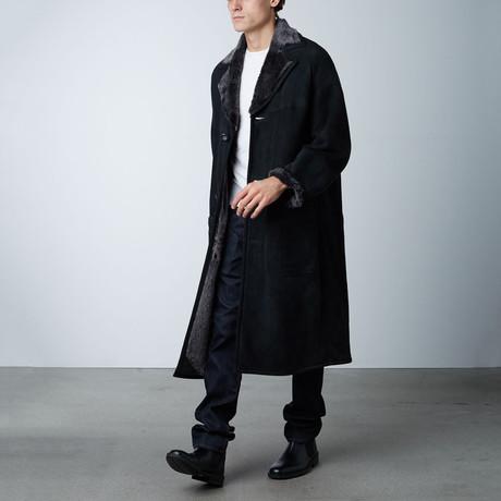 Damien Suede Shearling Long Coat // Black (S)