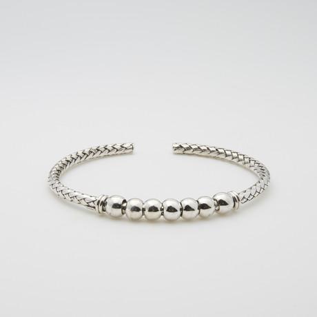 Interlocked Links Beaded Ball Cuff Bracelet