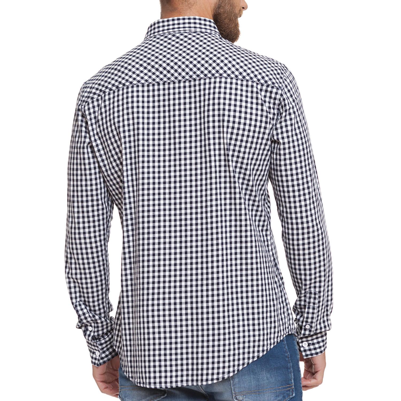 Larix Button Up Shirt Navy Check S Crosshatch