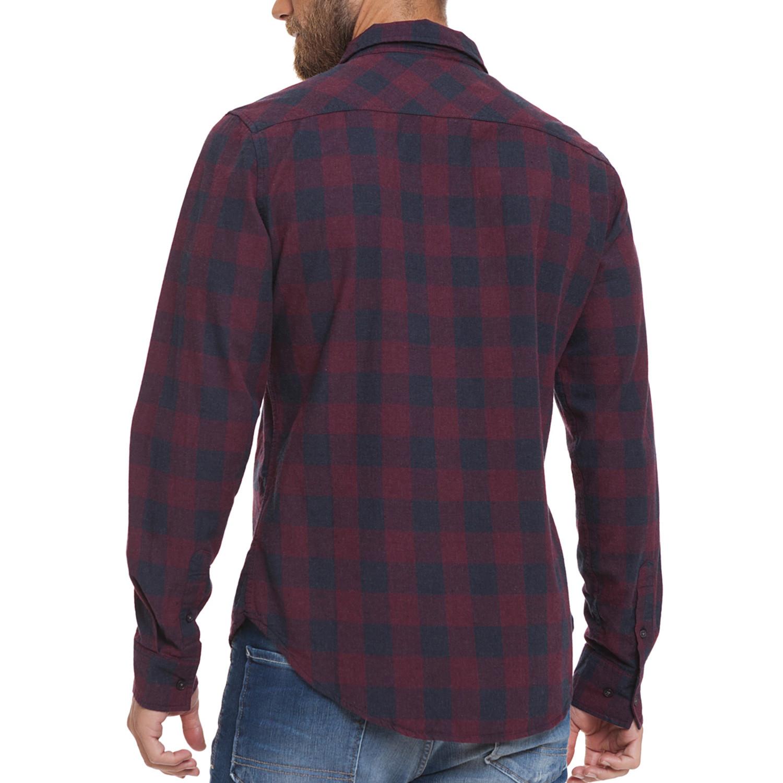 Obtusa Button Up Shirt Navy Check S Crosshatch