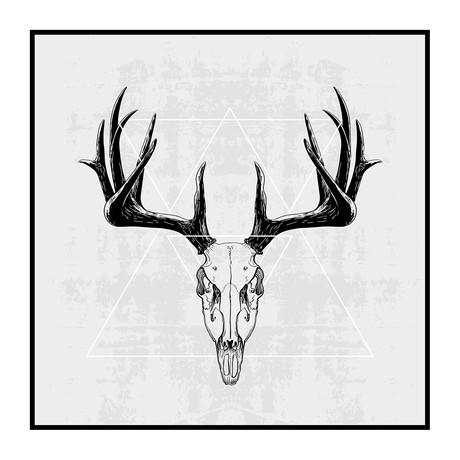 """Stag Skull (24"""" W x 3.8""""H x 24""""D)"""