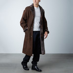 Damien Suede Shearling Long Coat // Brown (XS)