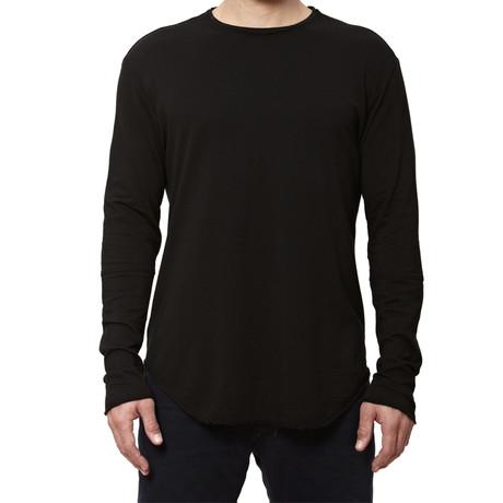Raw-Edge Long-Sleeve Tee // Black (S)