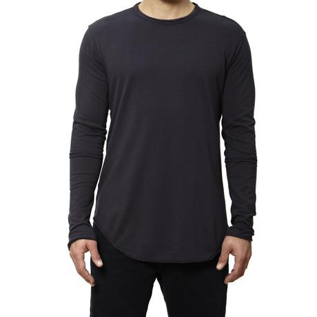 Raw-Edge Long-Sleeve Tee // Grey (S)