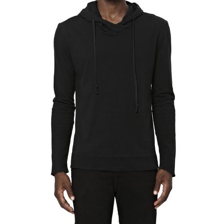 Cross-Neck Long-Sleeve Hoodie // Black (S)