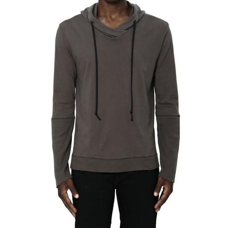 Cross-Neck Long-Sleeve Hoodie // Charcoal (S)