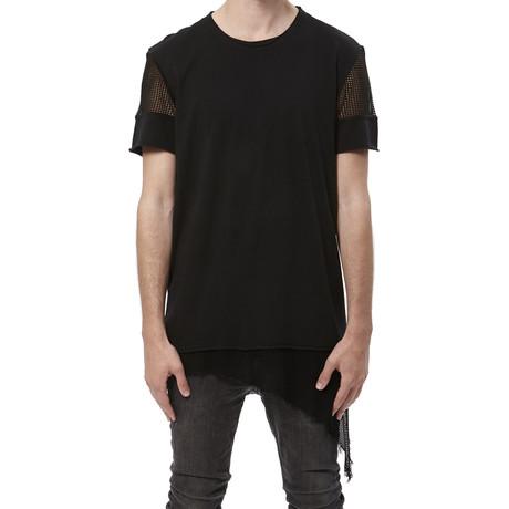Mesh Sleeve + Hem Tee // Black (S)