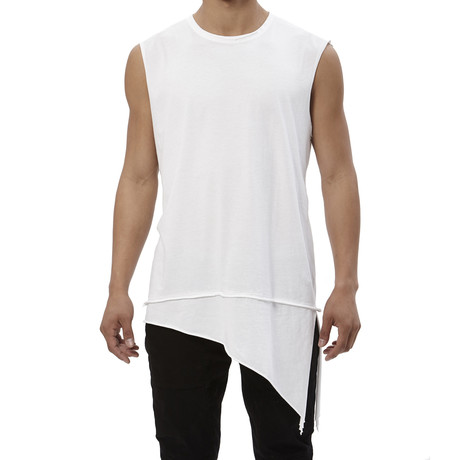 Asymmetrical Long-Hem Tank // White (S)