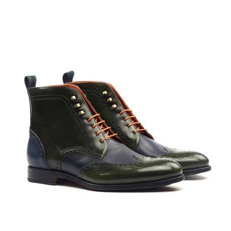 Military Brogue // Green + Navy (US: 6)