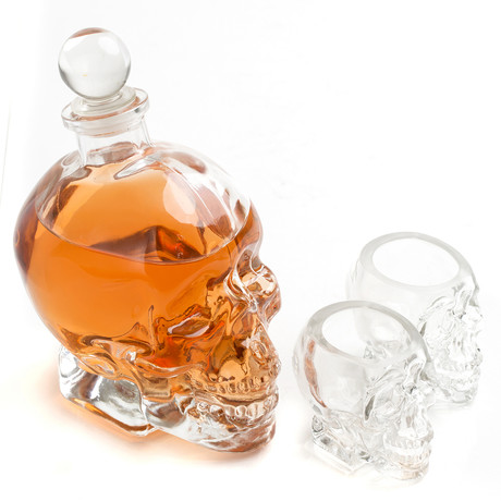 Skull Decanter + Shot Glasses (4 Shot Glasses)