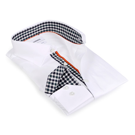 Gingham Collar Solid Button-Up // White + Dark Green + Charcoal (S)