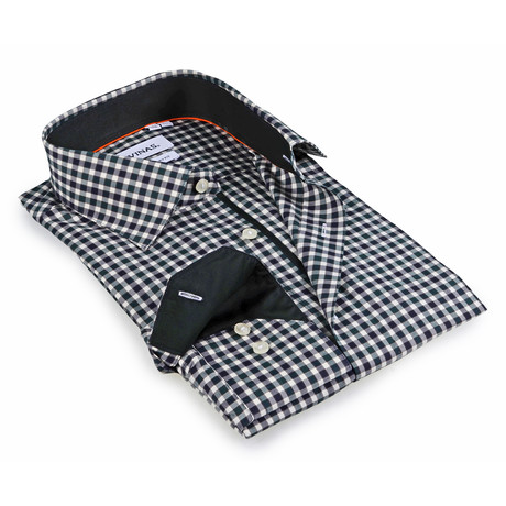 Gingham Button-Up Shirt // Brown + Green + Black (S)