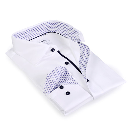 Snowflake Contrast Collar Button-Up Shirt // White + Navy (S)