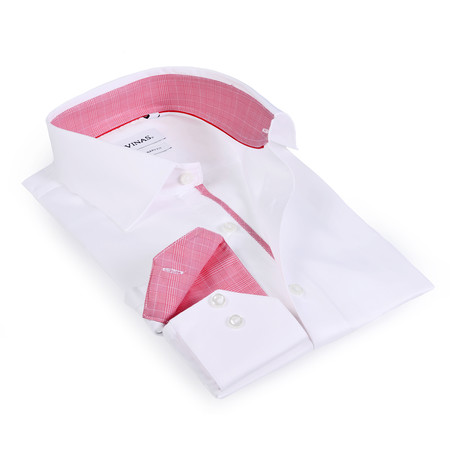 Salmon Contrast Collar Solid Button-Up Shirt // White (S)