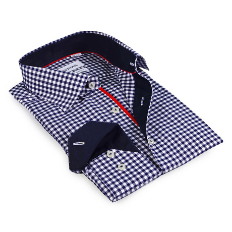 Gingham Button-Up Shirt // Navy (S)
