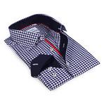 Gingham Button-Up Shirt // Navy (S)