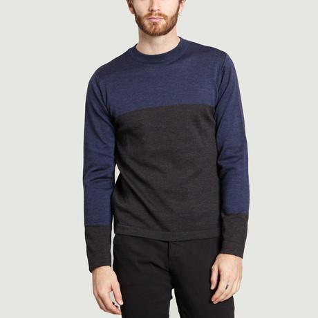 High Collar Knit Sweater // Dark Gray + Blue (S)