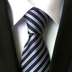 Handmade Tie // Royal Blue + Grey Stripe