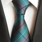 Handmade tie // Grey + Blue Stripe