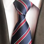 Handmade Tie // Navy + Red Stripe
