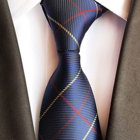 Handmade Tie // Navy Thin Red + Gold Stripe