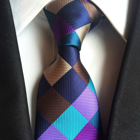Handmade Tie // Purple + Blue + Bronze Tile